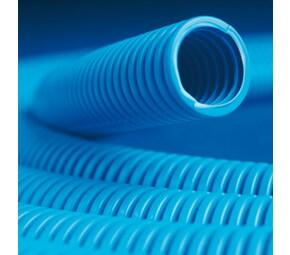 ДКС Труба ППЛ гибкая гофр. д.25мм, лёгкая с протяжкой, 50м, цвет синий