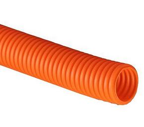 ДКС Труба ПНД гибкая гофр. д.16мм, тяжёлая с протяжкой, 100м, цвет оранжевый